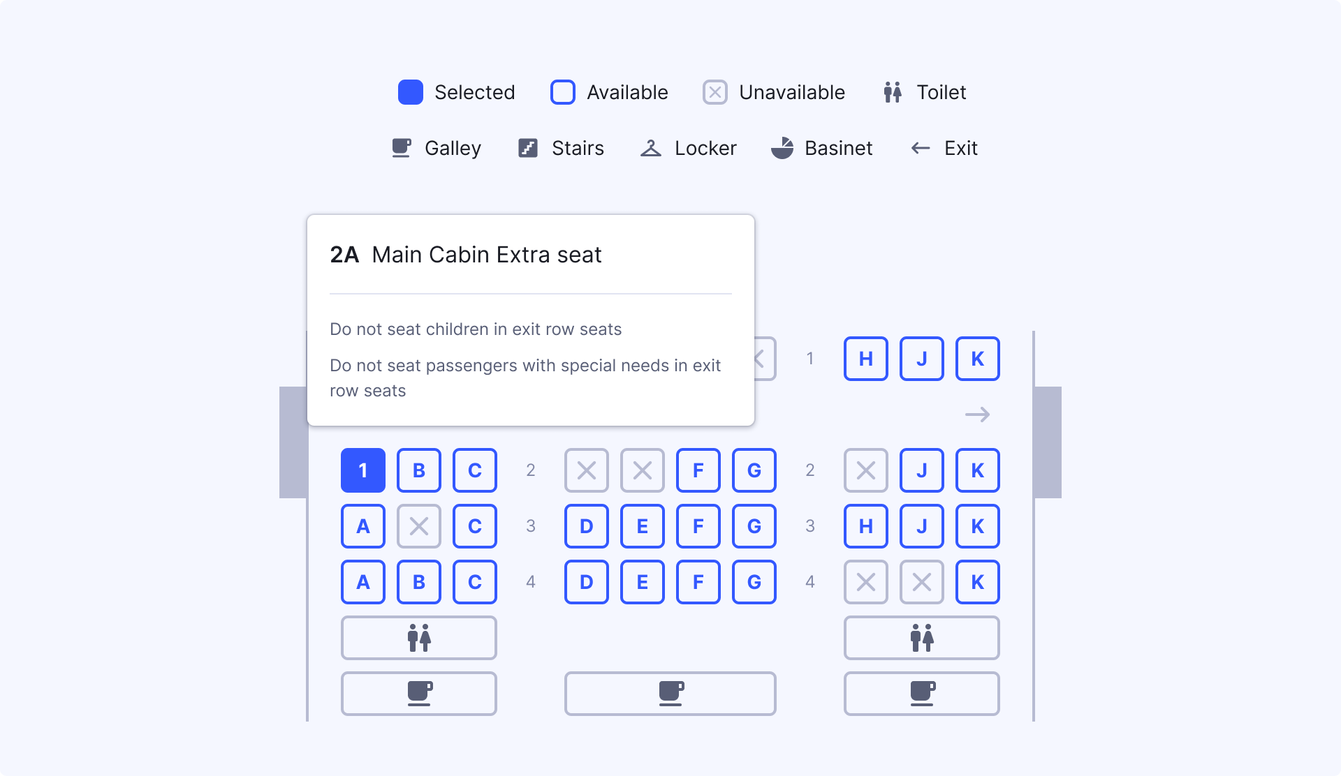 Image showing seat selection in Duffel booking tool